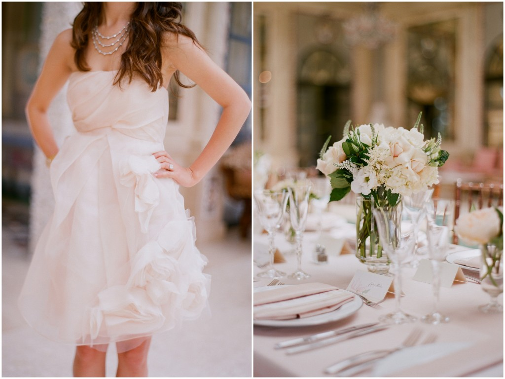 blush tiered dress and blush table linen with blush and green bouquets