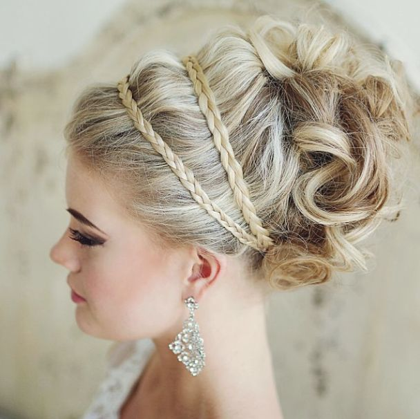 bridal hair with braids and curls