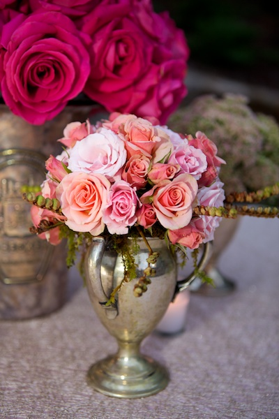 pink and coral rose bouquet in silver cup