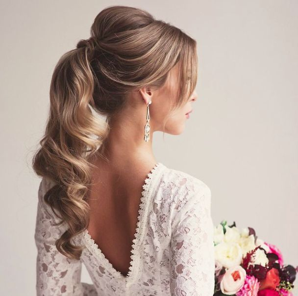 high pony bridal hair, ponytail bridal hairstyle