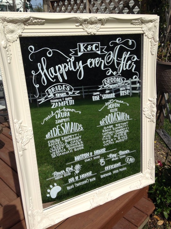 wedding program written on a framed mirror