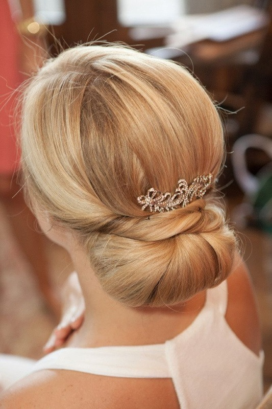 low french twist bridal hair with clip