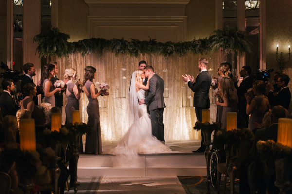 Jason Kennedy and Lauren Scruggs wedding ceremony and kiss