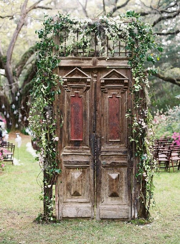 rustic doors at ceremony entrance
