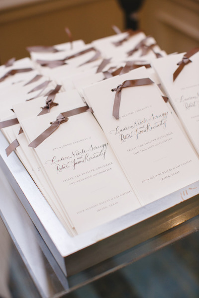 wedding programs with ribbons