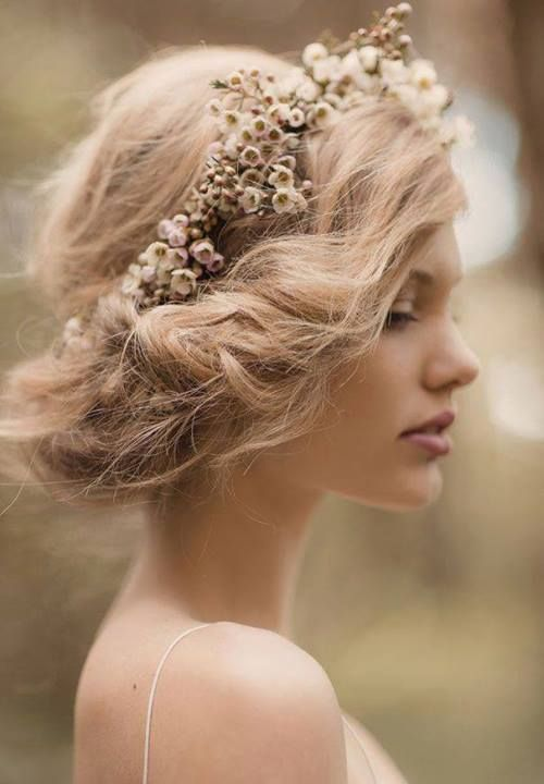 boho-chic up-do with rustic floral crown