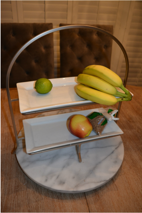 marble lazy Susan and fruit tray