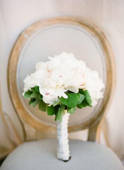 white wedding bouquet with greenery