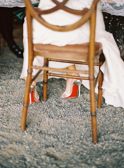 bride in christian louboutin pumps