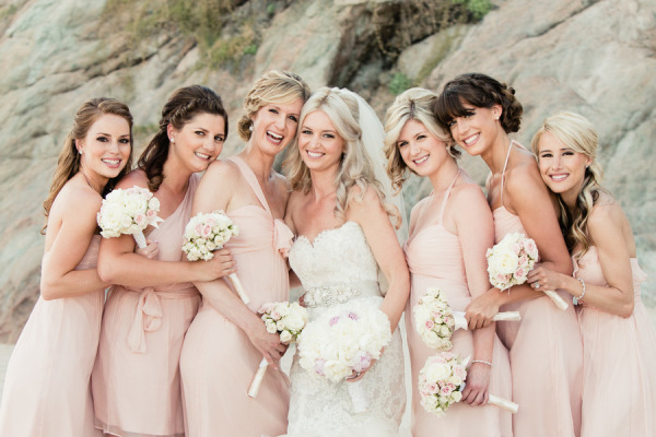 wedding makeup, pastel bridesmaid dresses, peach mix and match bridesmaid dresses
