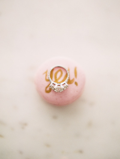engagement ring on macaroon