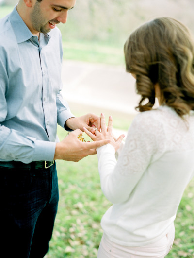 guy putting on ring after he proposed