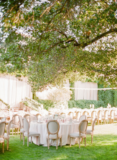 white outdoor wedding reception tables, elegant wedding reception