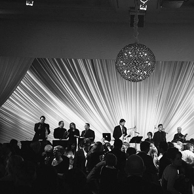 elegant wedding with band playing