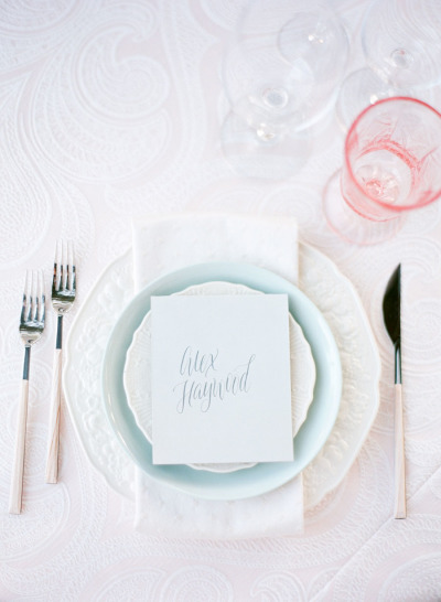 blue and blush wedding place setting