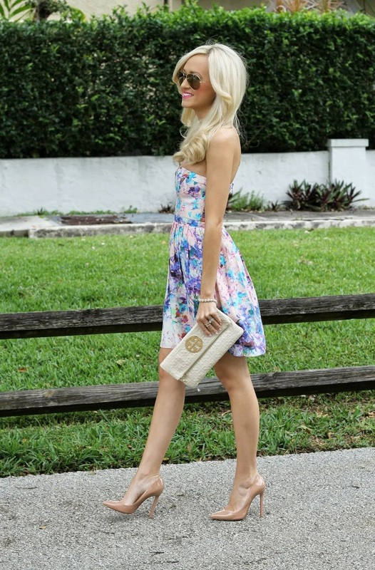 Spring Wedding Outfit Fl Dress With Tory Burch Clutch