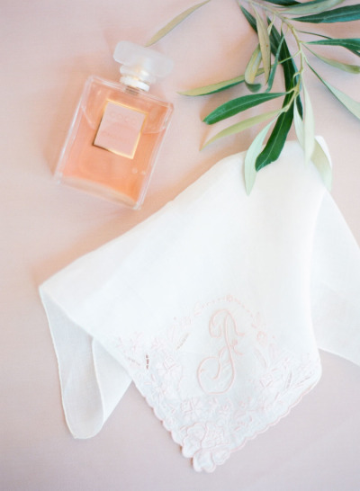 Chanel perfume and embroidered handkerchief