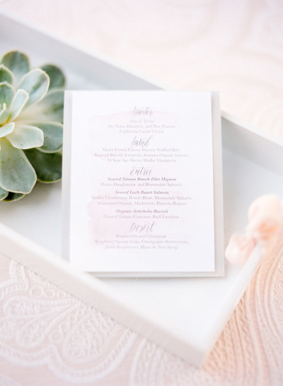 white and silver wedding menu's