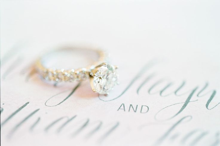 engagement ring on wedding invitations