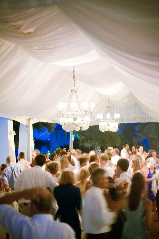 wedding dance party, wedding reception under marquee tent