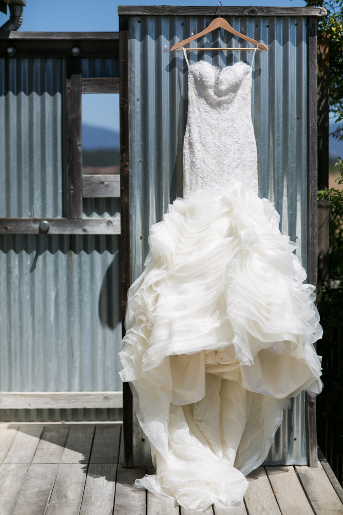 Caitlin Hartley of It Girl Weddings, mermaid wedding dress hanging on vineyard door