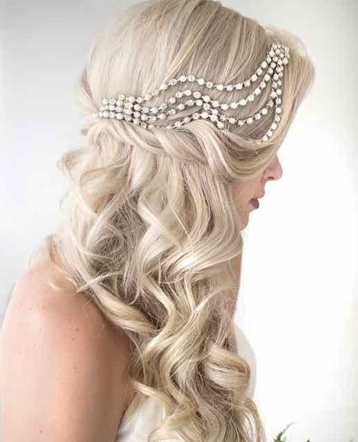 bridal hair with diamond clips