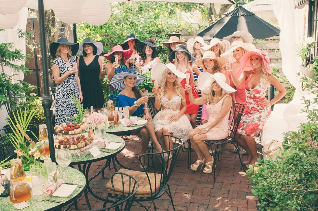bridal shower with floppy hats