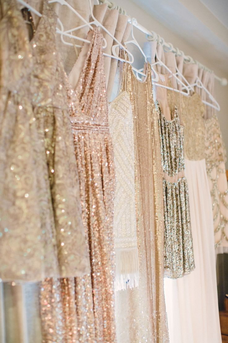 hanging gold glittery bridesmaid dresses