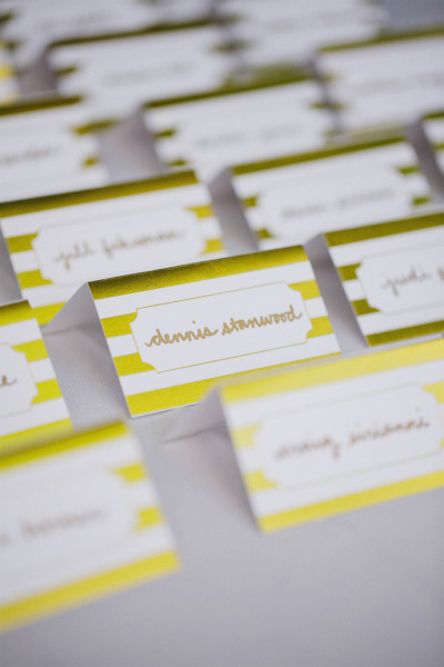 gold striped place cards