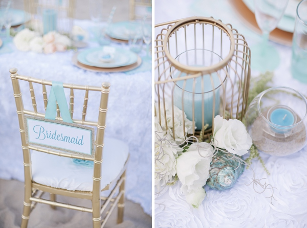 gold reception chair with bridesmaid chair sign