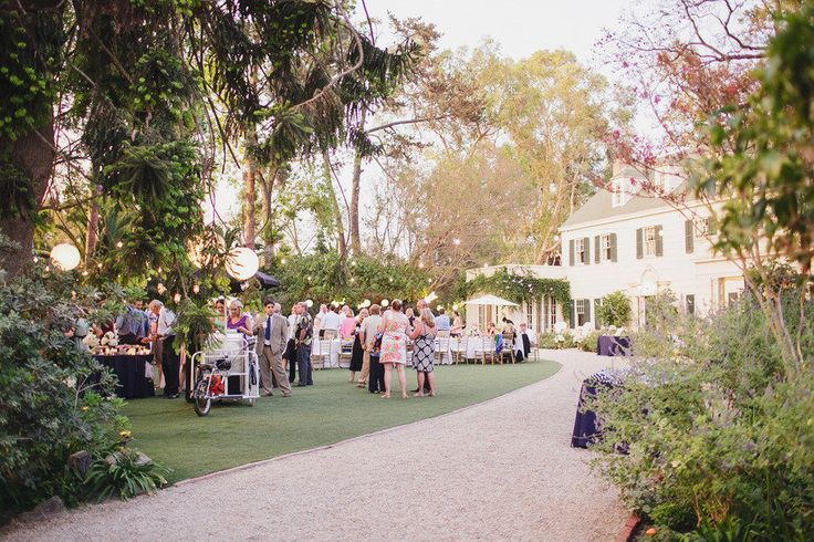wedding guests at outdoor cocktail hour