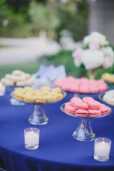 macaroons on a blue table cloth