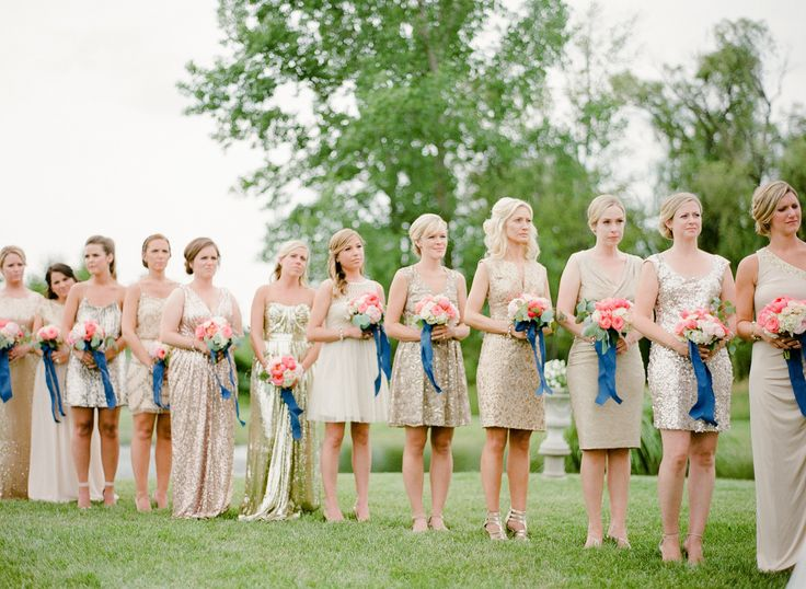 bridesmaids in gold glittery mix-matched bridesmaid dresses during ceremony