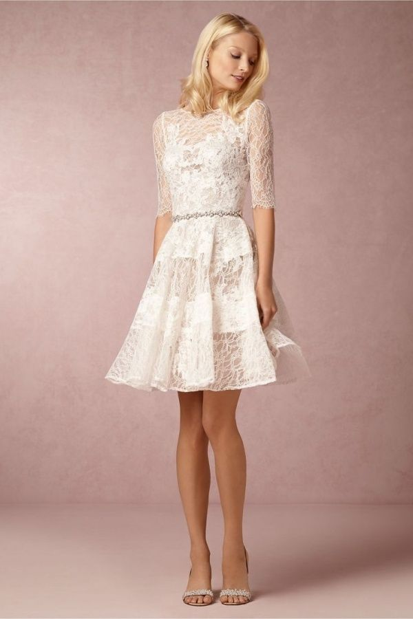 White Lace Short Dress Rehearsal Dinner Ideas