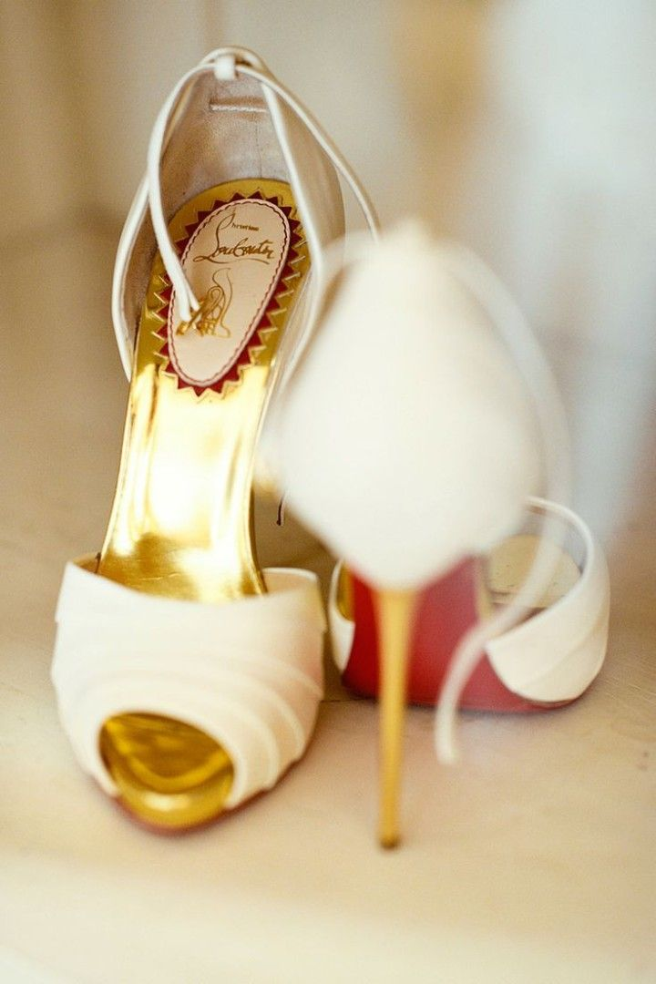white Christian Louboutin wedding shoes