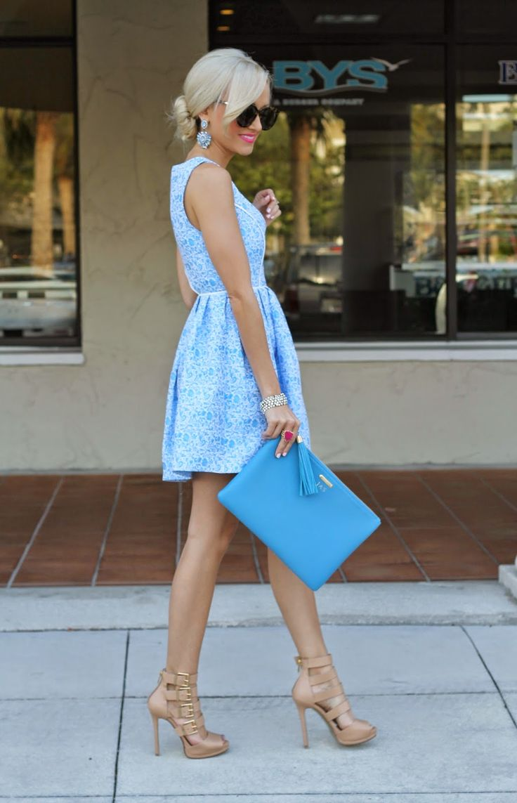 Wedding guest outfit ideas it girl weddings for Baby blue wedding guest dress