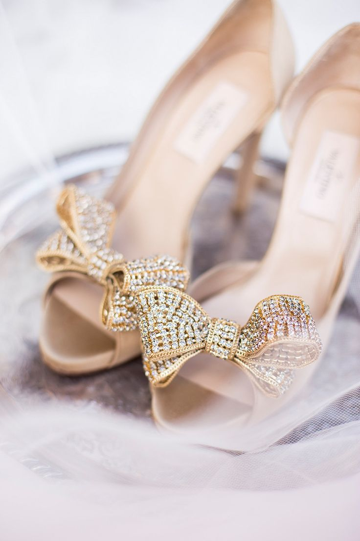 gold crystal Valentino bow pumps, wedding shoes