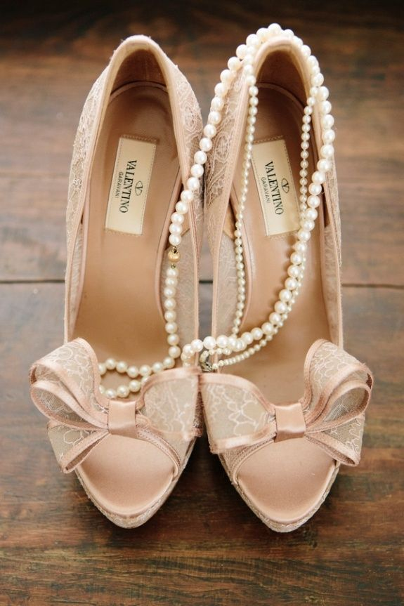lace bow valentino pumps with pearls