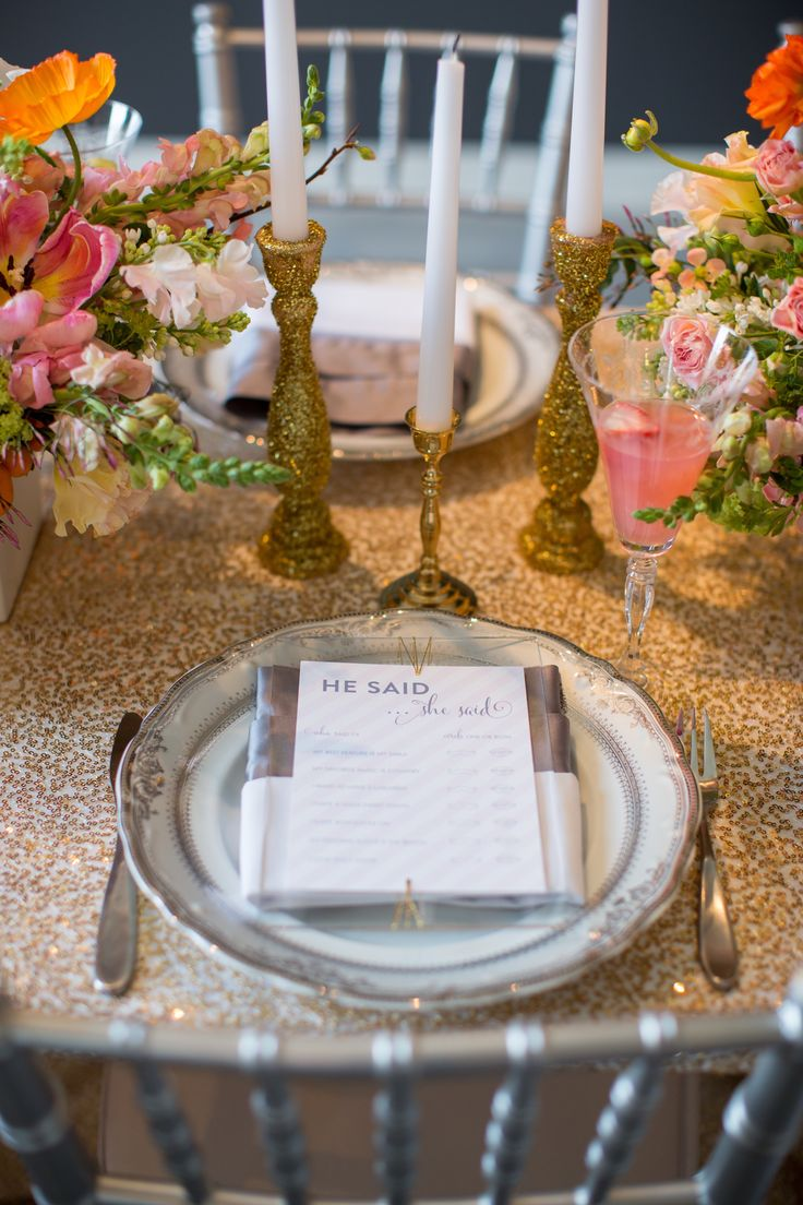 bridal shower place setting ideas