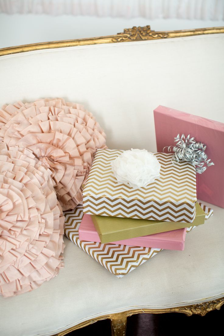 pink and gold wrapped presents