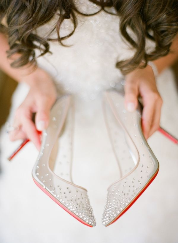 mesh Christian Louboutin wedding shoes