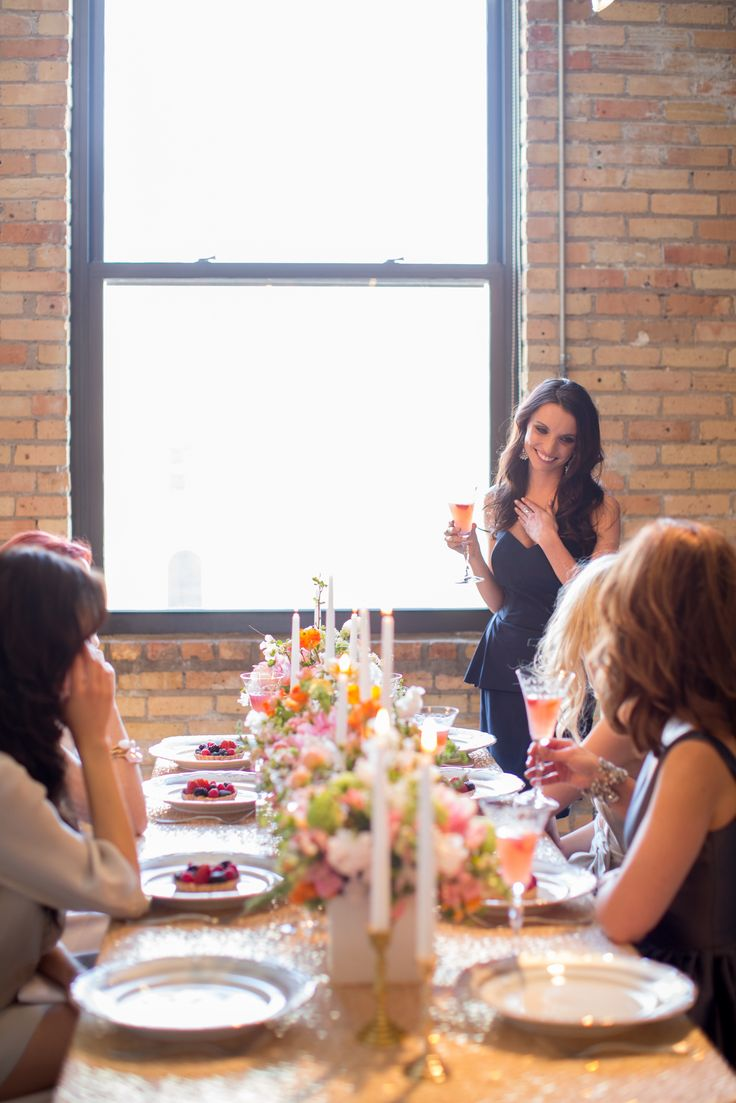 maid-of-honor giving speech at bridal shower brunch