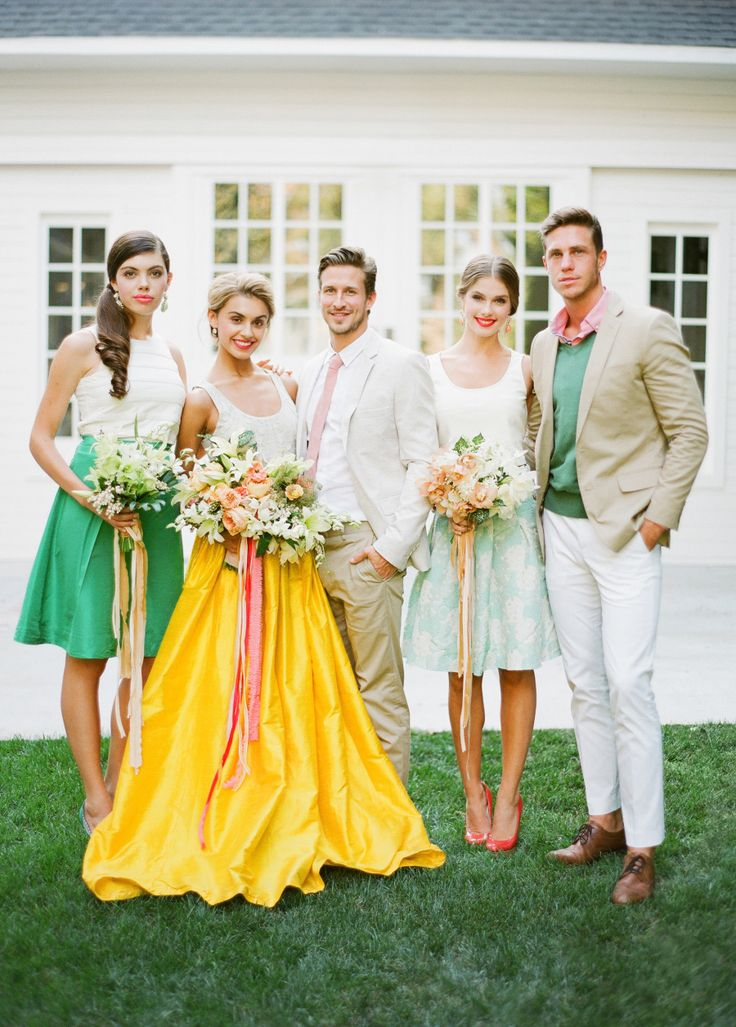 nontraditional wedding, yellow wedding skirt, Cuban wedding