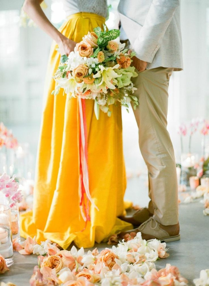 yellow wedding skirt