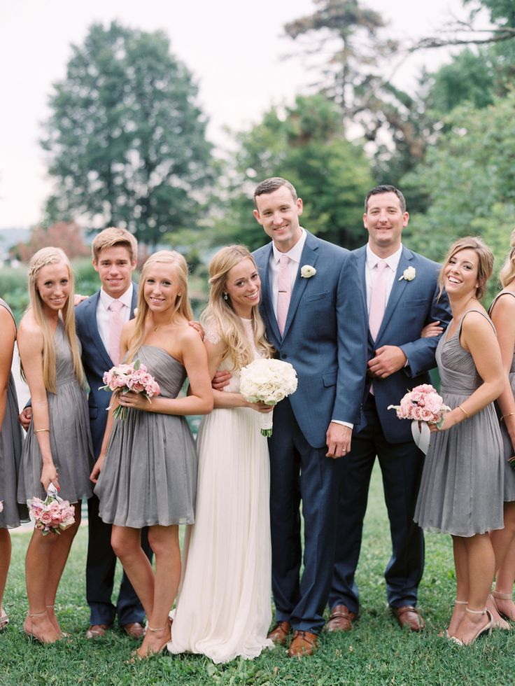 bridal party in grey and pink