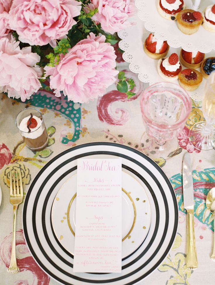 bridal tea party place setting