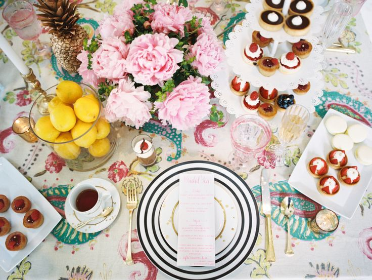 bridal tea party table decor