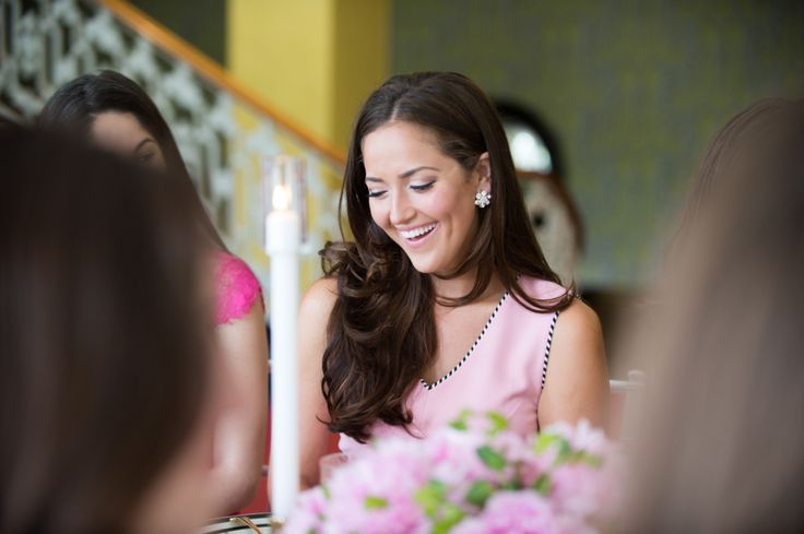 bride-to-be smiling during bridal shower