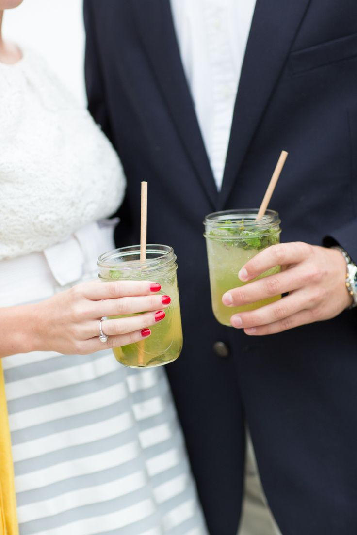 engagement party holding mint juleps