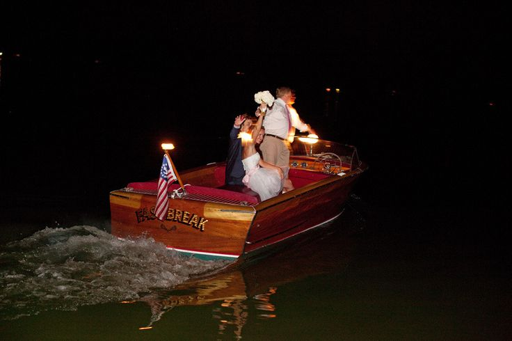 bride and groom boat send-off